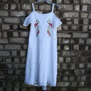 marciano white lace embroidered dress girls S16